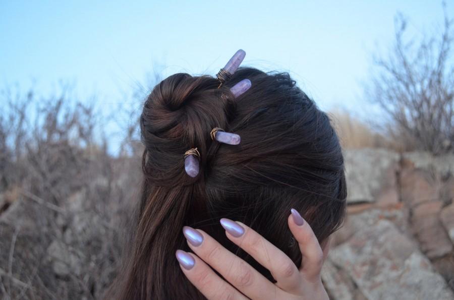 Mariage - Purple Agate Crystal Hair Pins, Wedding Hair Pins, Bridal Hair Accessories