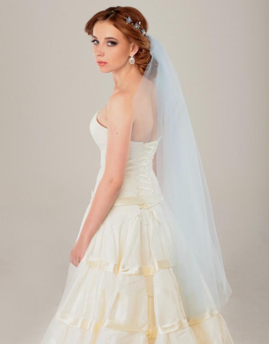 Mariage - veil, blue veil, light blue veil, unique veil, 1 tier veil, fingertip veil, wedding veil, bridal veil, veils, cathedral veil, chapel veil