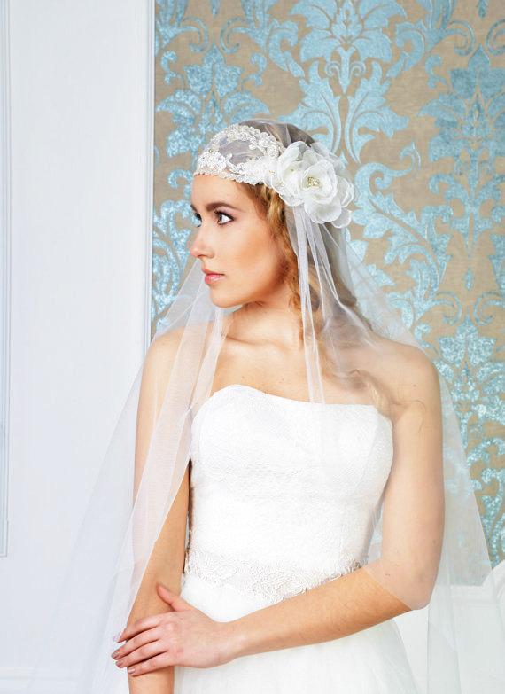 Mariage - NEW Juliet cap veil Bohemia juliet cap veil Style 01614V