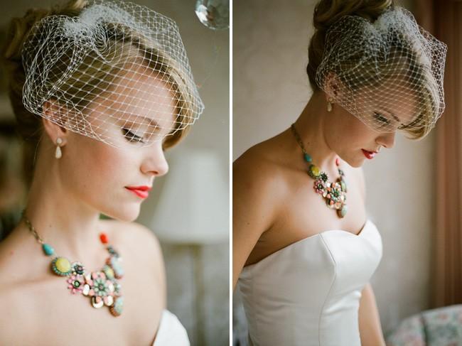 Mariage - Wedding Veil - Ready To Ship - Swarovski Crystals - Bird Cage Veil- Choose From White Or Ivory - Short Wedding Veil Handmade By Parisxox