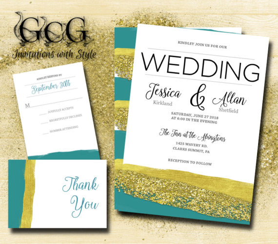 Hochzeit - Printable Watercolor Wedding Invitation suite, watercolor wedding. Watercolour wedding invitation suite, Teal and Gold Brush strokes
