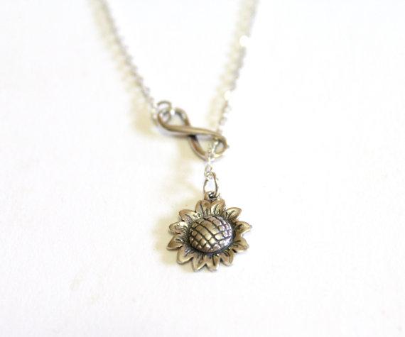 زفاف - Sunflower Necklace, Infinity Necklace, Bridesmaid gift idea, Bridal jewelry, Bridesmaid necklace, Wedding gift, Christmas gift, Gift