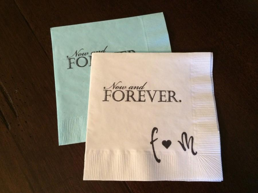 Mariage - Personalized Now and Forever Napkins - Wedding, Custom Napkins, Personalized Engagement Napkins, Inspirational, Love Quote, Elegant Napkins