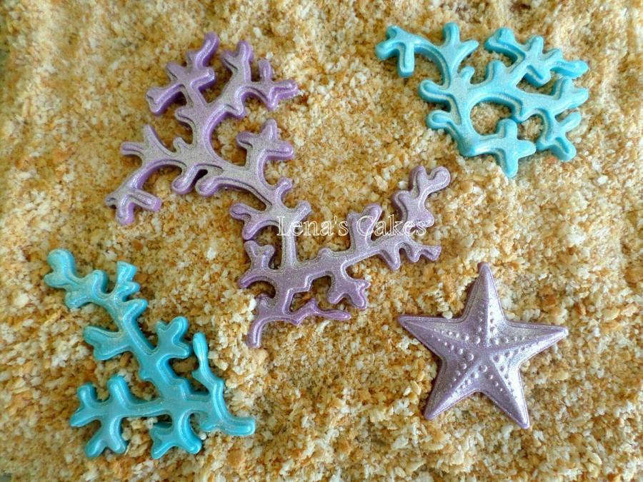 Mariage - Mermaid Party Edible Fondant Cake Topper Corals Starfish Summer Beach Wedding Baby Bridal Shower Birthday Blue Purple Cupcake Decor - set 20