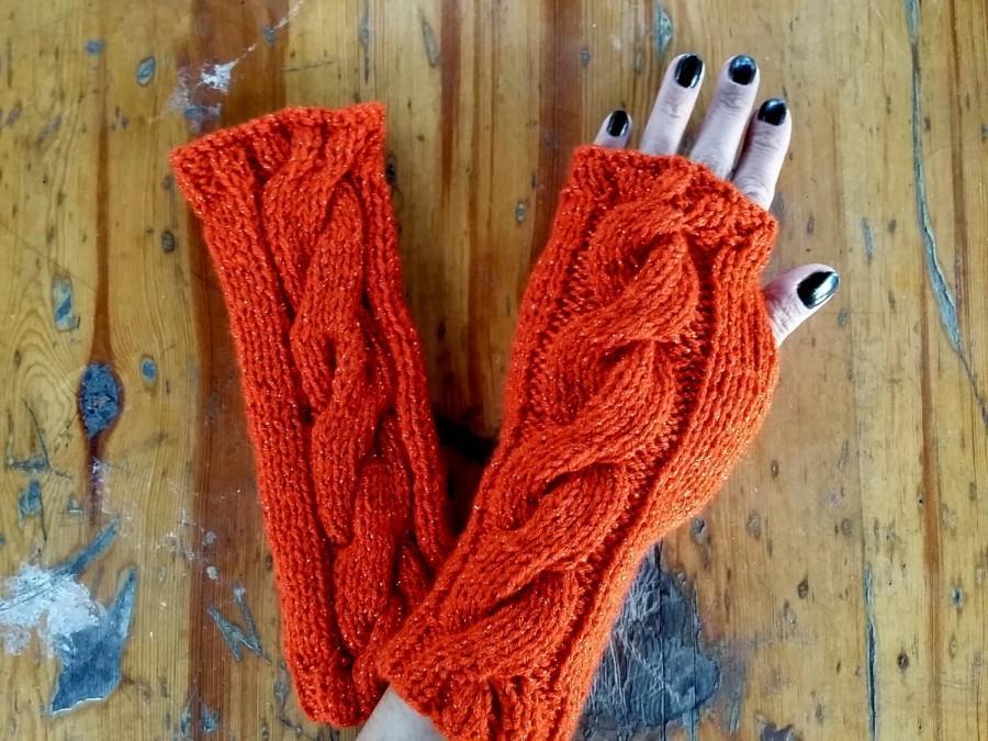 Wedding - Knitted Arm Warmer, Fingerless Women, Women Knit Gloves, Fingerless Accessories, Hand Knitted Gloves, Women Crochet Gloves, Scarlet Gloves
