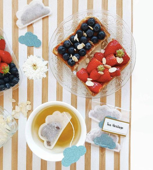 زفاف - Tea Bags Cloud Shaped (5) - blue and sparkle - breakfast - zen