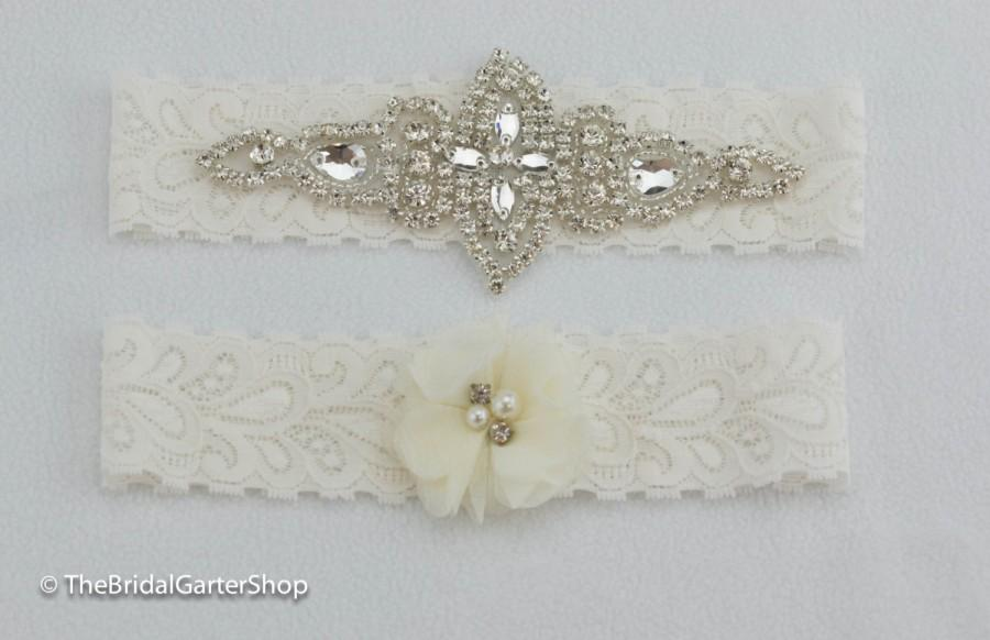 Mariage - White wedding garter, ivory wedding garter, lace bridal garter, stretch lace wedding garter