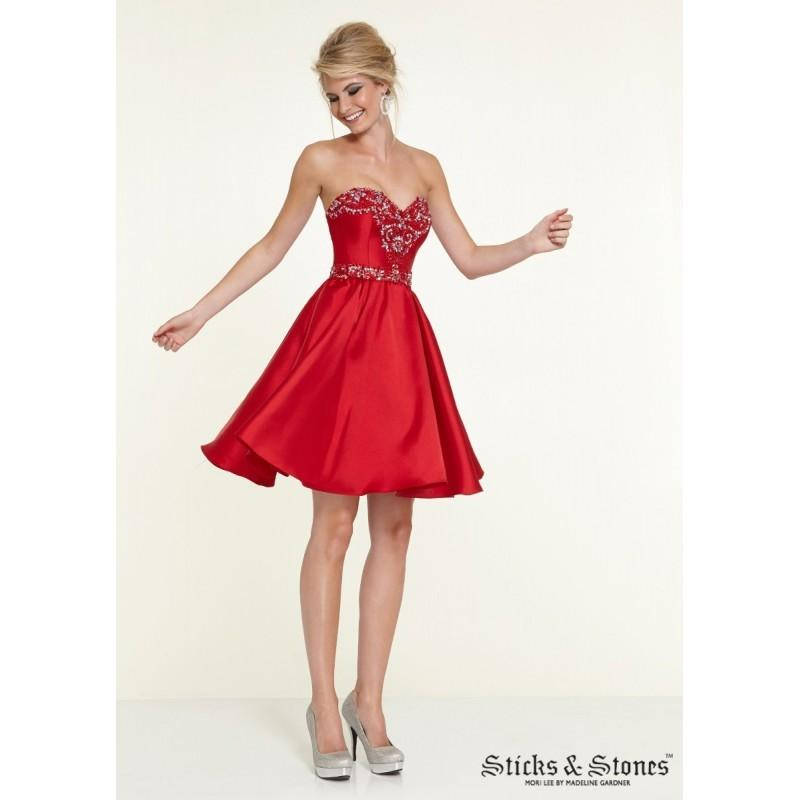 Wedding - Sticks and Stones 9317 Satin Sweetheart Neckline - Sticks N Stones Sweetheart Short and Cocktail A Line Short Dress - 2017 New Wedding Dresses