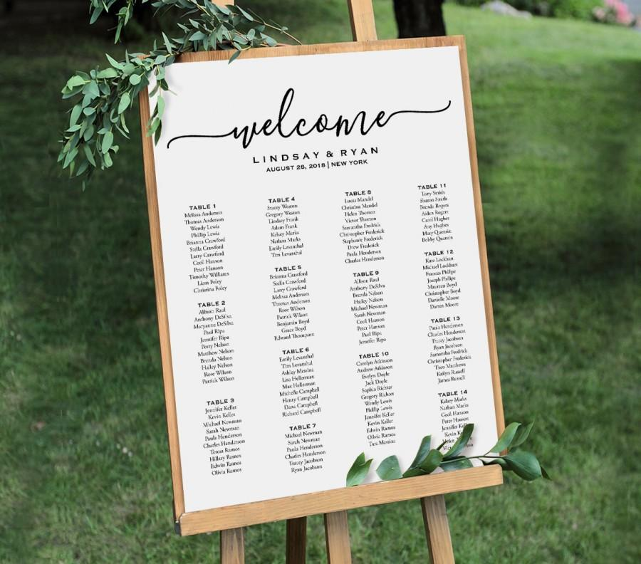 Welcome Wedding Seating Chart Sign, Printable Seating Plan Poster, Table  Arrangement, Editable Template, Instant Download, PDF #030 212SC
