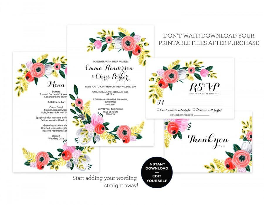 floral wedding invitation template rustic boho chic wedding invite