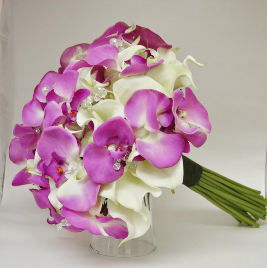 Wedding - Tropical Bouquet - Destination Wedding Bouquet - Real Touch Bouquet - Calla Lilies,Orchids, Real Touch Calla Lilly Bouquet