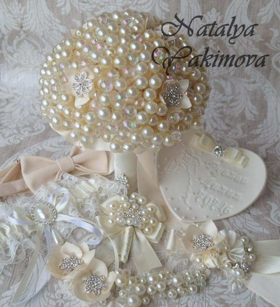 Hochzeit - Brooch Bouquet, Vintage Bouquet, Rustic Bouquet, Fabric Bouquet, Unique Wedding Bridal Bouquet, bouquet from beads, ivoru