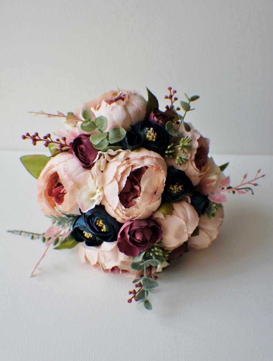 Peony Bridal Bouquet, Silk Wedding Flowers, Blush Wedding Flowers ...