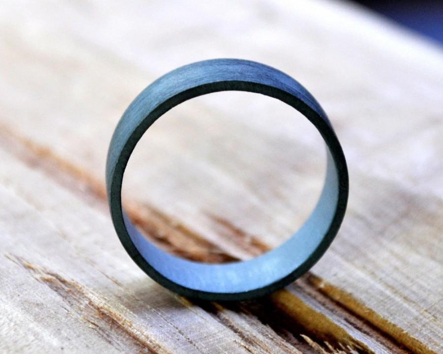 Mariage - Men's Oxidized Sterling Silver Ring. (Oxidised, Black, Grey) Wedding Ring. 6mm Wide Flat Band. Custom Size. Recycled Sterling Silver. Eco.
