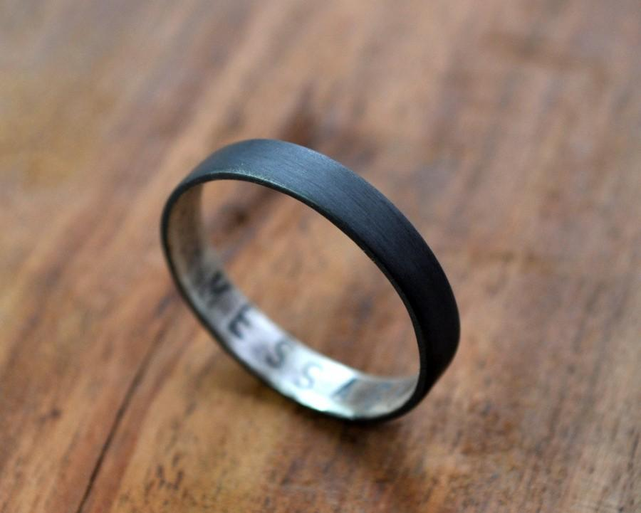 Wedding - Women's Oxidized Secret Message Ring. Custom Stamped Sterling Silver Wedding Band. Personalized. 3.7mm. Wedding Ring. Flat Ring. Black. Grey
