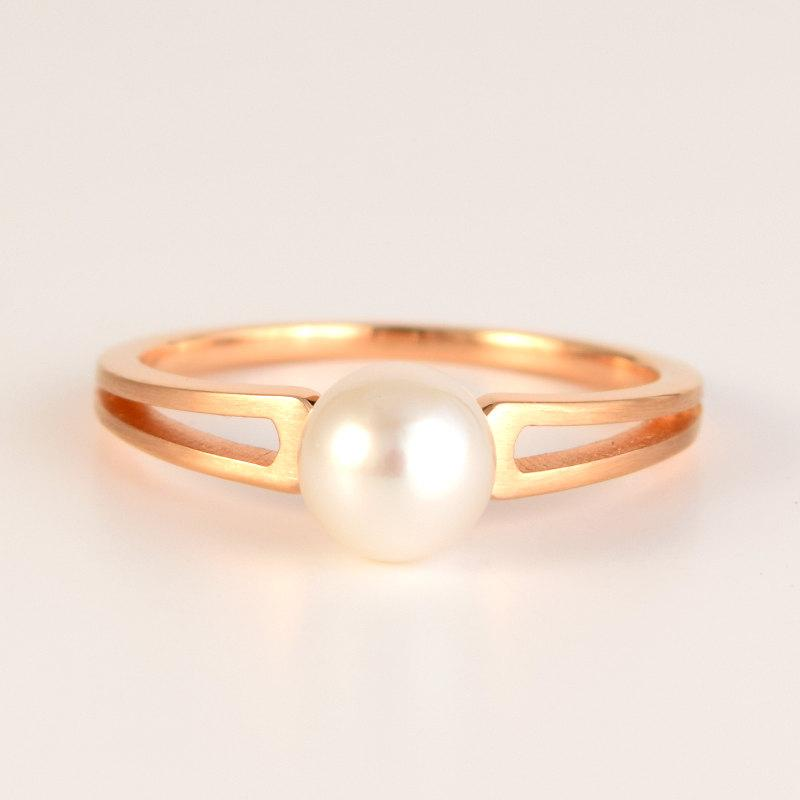 Mariage - ENGAGEMENT PEARL Ring 'TWIN' in 18k Rose Gold with 6mm Akoya Pearl