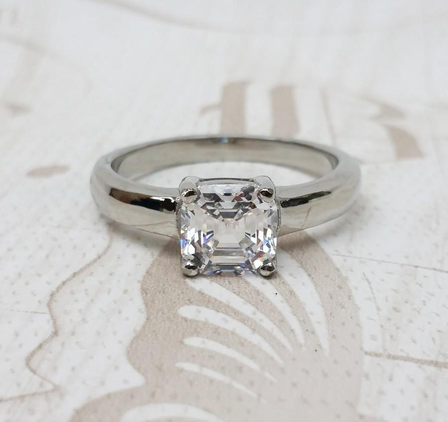 Mariage - Solitaire 2ct Asscher Lab Diamond ring in Titanium or White Gold - engagement ring - wedding ring - handmade ring