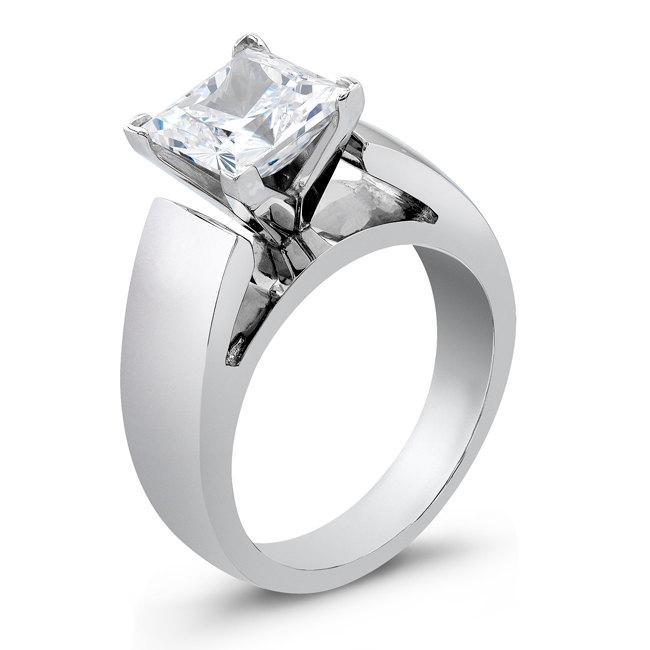 زفاف - Ladies Platinum wide cathedral engagement ring with 2ct Princess White Sapphire Center