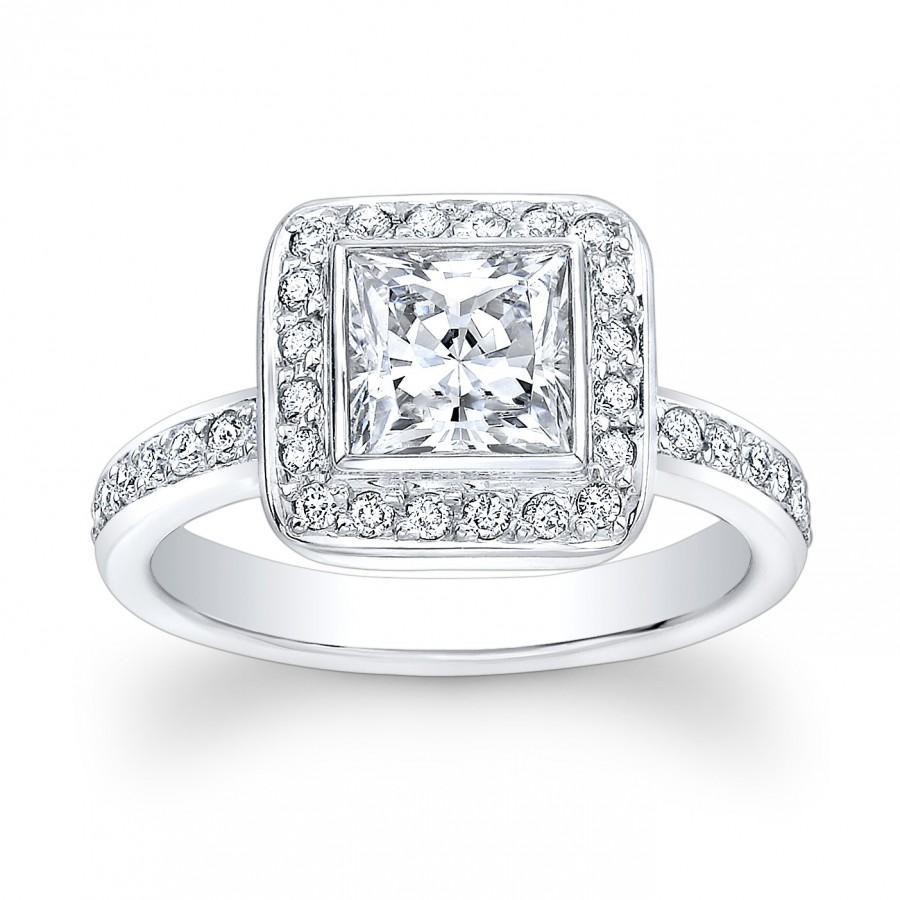 Свадьба - Ladies Platinum vintage engagement ring with 1ct Princess Cut White Sapphire Center and 0.50 ctw G-VS2 pave diamonds