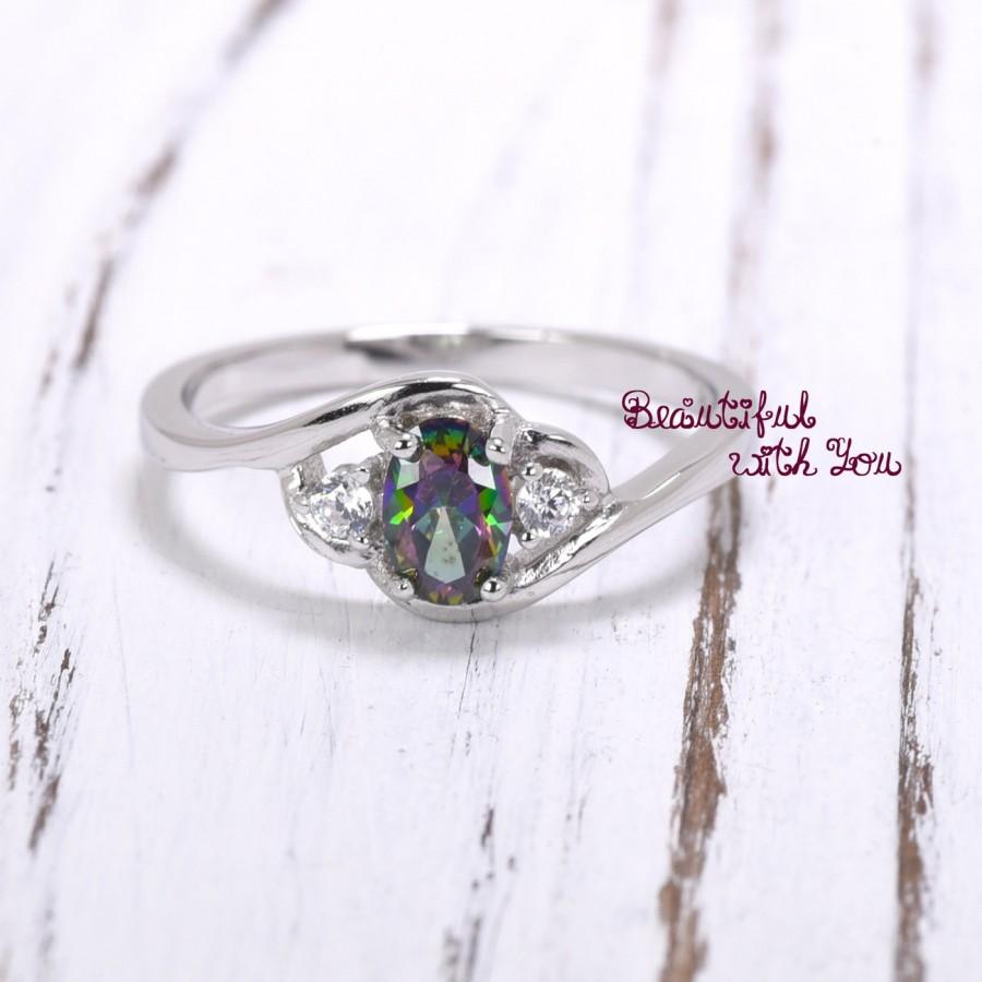 Wedding - Dainty Ring Silver / Girlfriend Gifts for Her / Gift Ideas for Wives / Rainbow Topaz CZ Unique Promise Ring / Anniversary Ring / Valentines