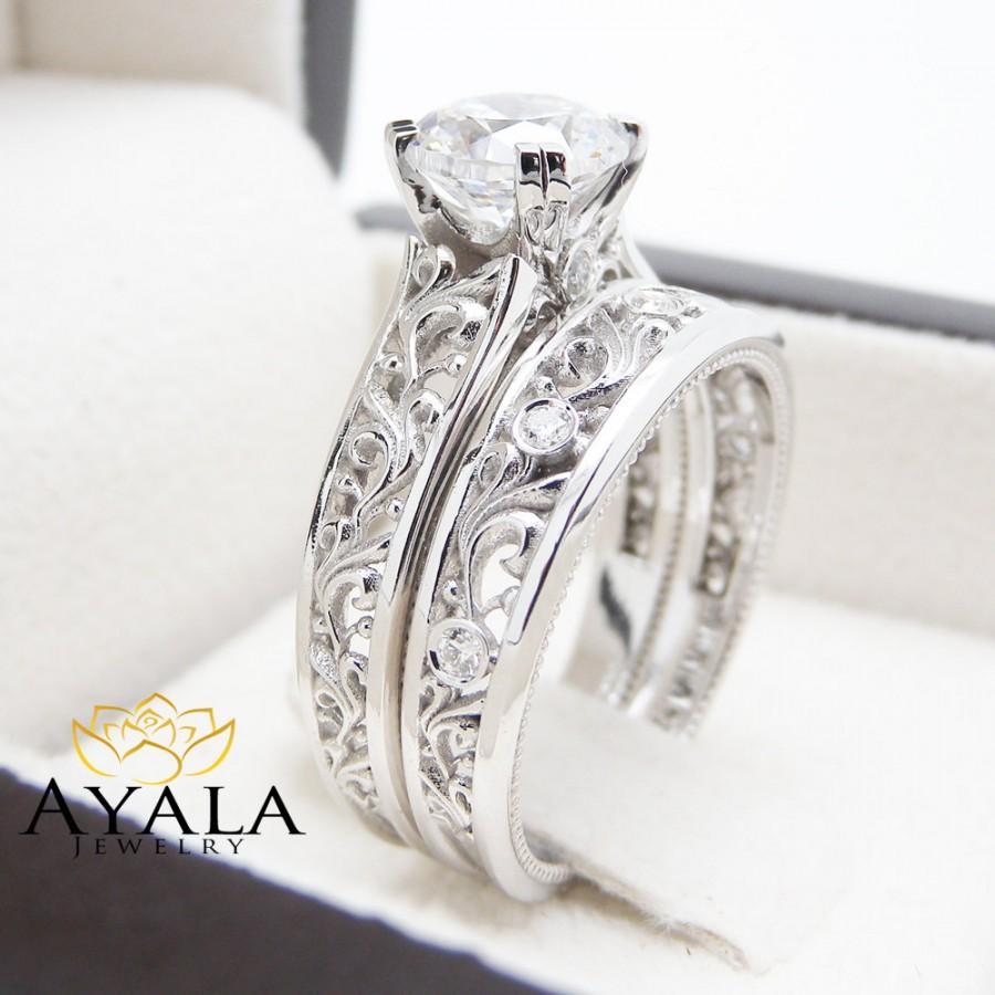 Hochzeit - Unique Moissanite Engagement Rings 14K White Gold Unique Engagement Ring Bridal Set Filigree Rings