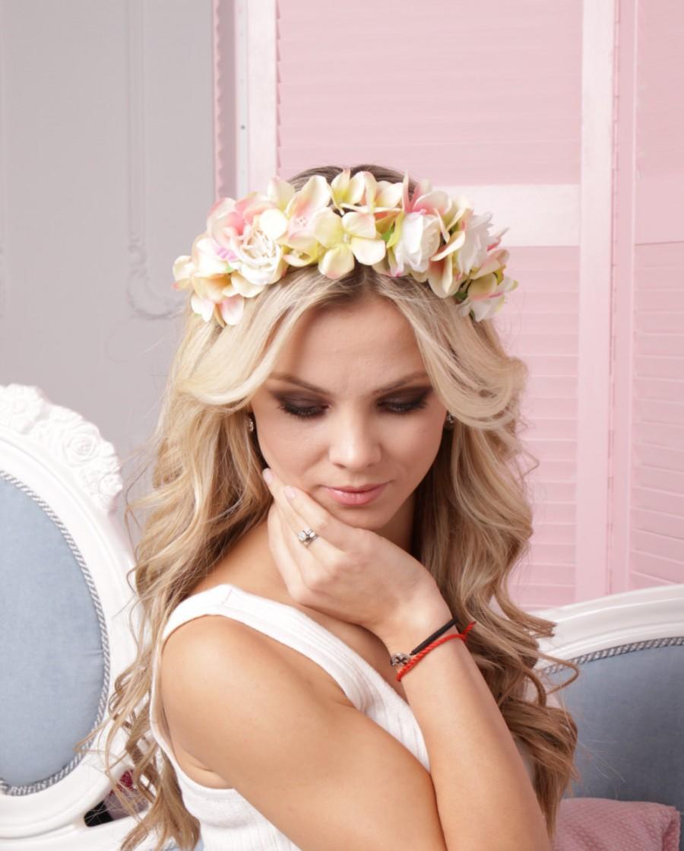 Bridal crown romantic headband spring racing flower crown light pink  wedding floral headpiece white fascinator headband wedding flower crown 54336c52100