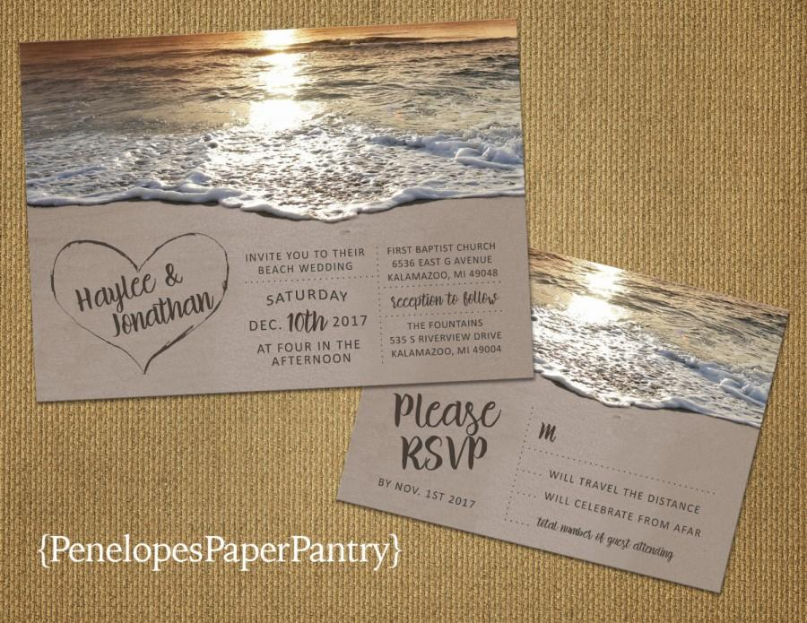 Romantic Beach Wedding InvitationHeart In The SandSandy BeachSunsetDestination WeddingHawaii WeddingPrinted InvitationWedding Set
