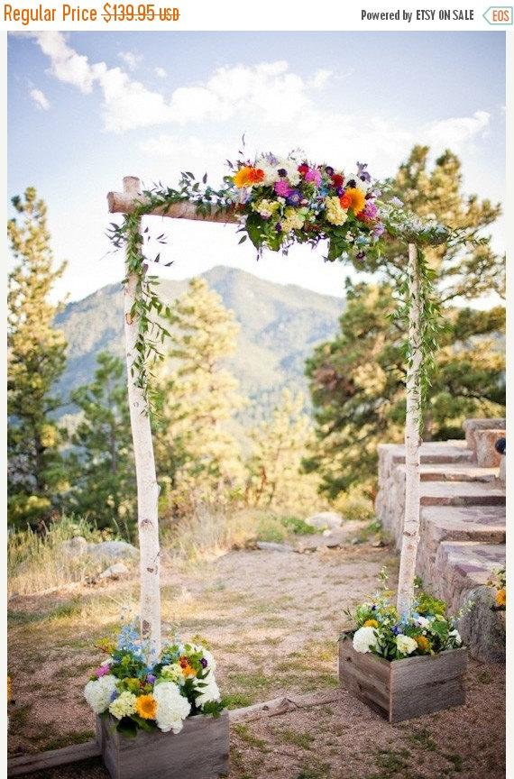 Mariage - Sale Three piece Birch Wedding Arch with Support Boxes / Arbor