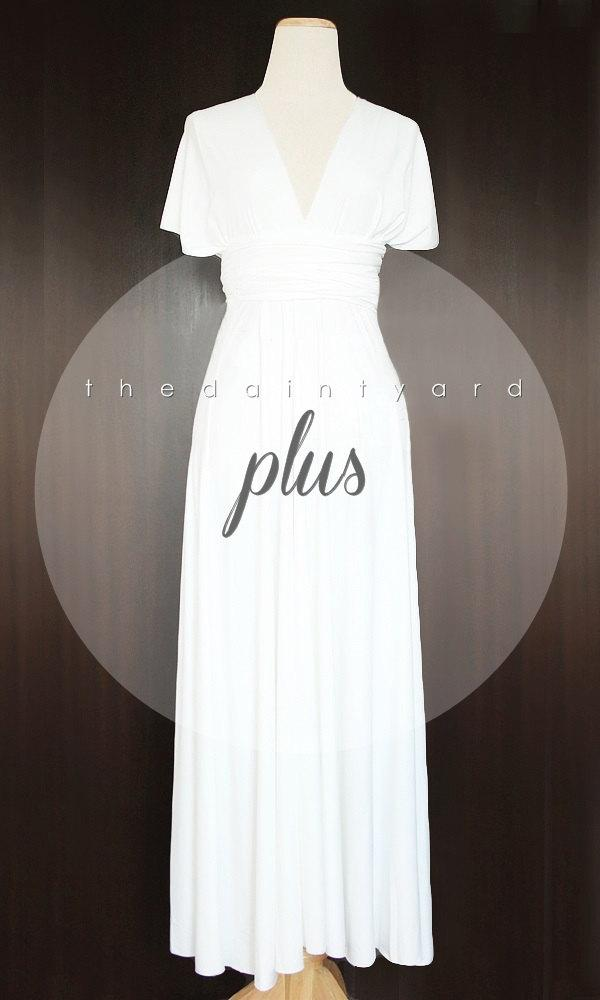 Wedding - MAXI Plus Size White Bridesmaid Dress Convertible Dress Infinity Dress Multiway Dress Wrap Dress Wedding Dress Prom Dress Off White Dress