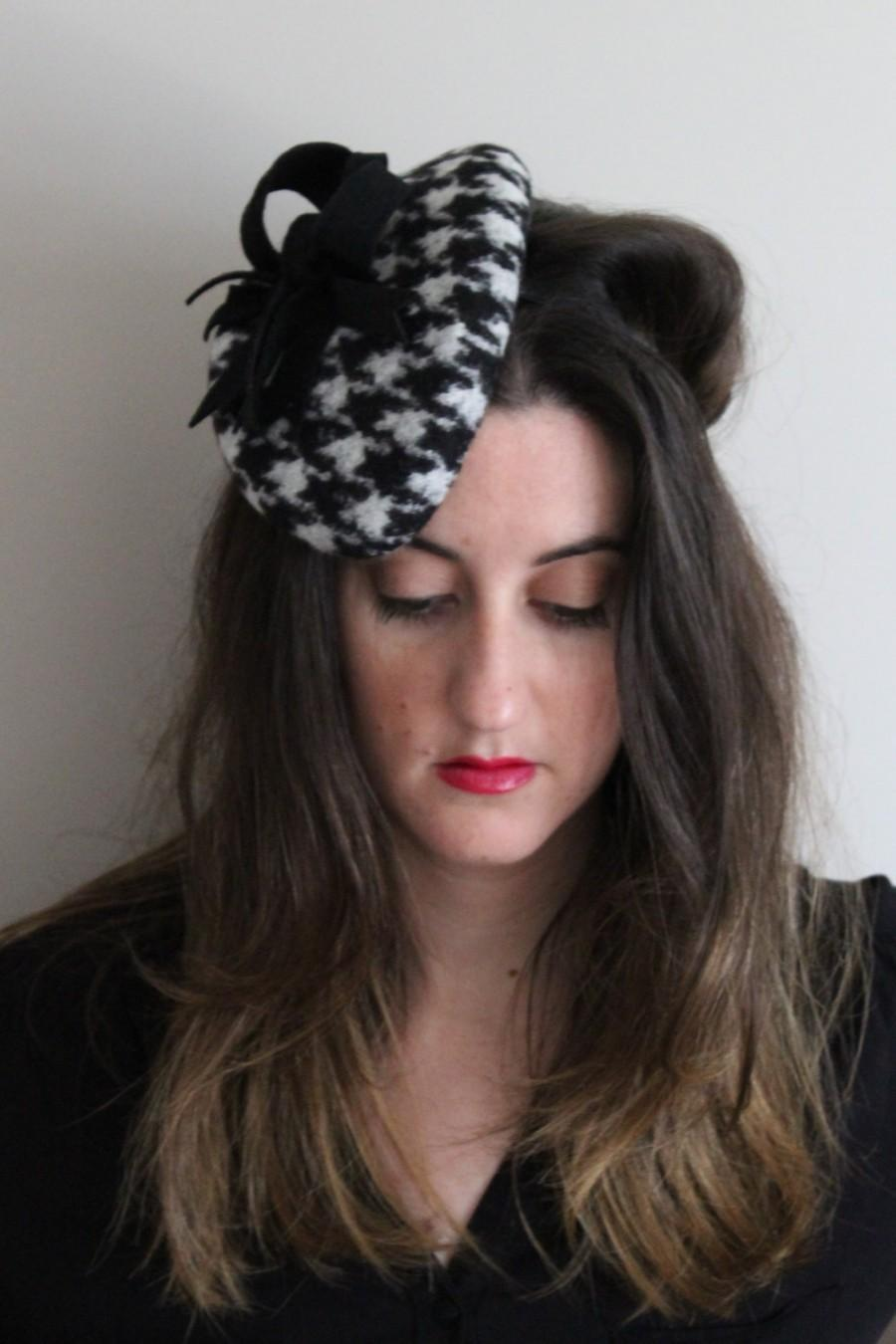 613311a5b Houndstooth And Wool Felt Fascinator, Women Winter Fascinator Hat ...