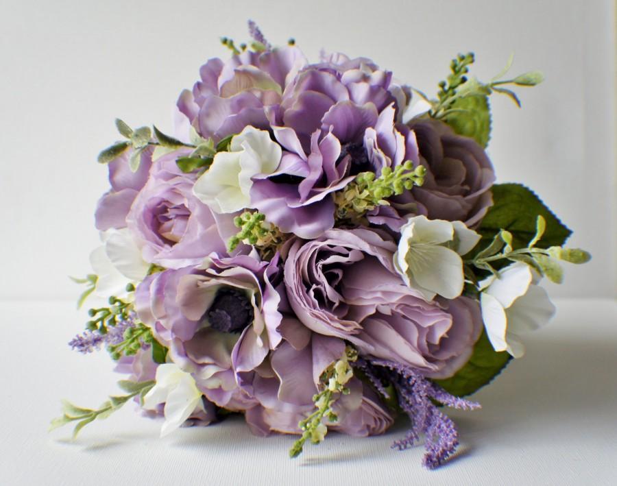 Свадьба - Bridal Bouquet, Purple Bouquet, Ready to Ship Bouquet, Lavender Bouquet, Spring Wedding, Brides Bouquet, Wedding Bouquet, Bridesmaid Bouquet