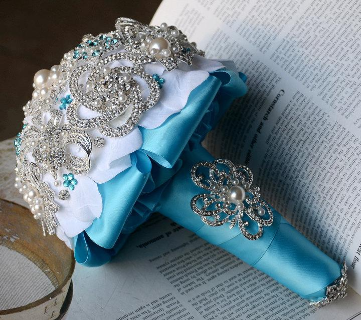 Mariage - Vintage Bridal Brooch Bouquet - Pearl Rhinestone Crystal - Silver Teal Blue White -One Day RUSH ORDER Available - BB032LX