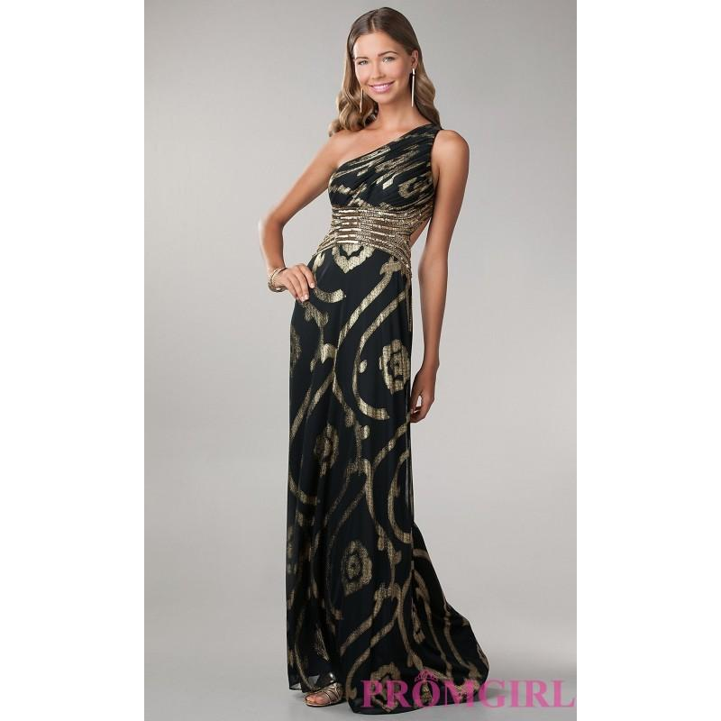 Nozze - One Shoulder Black Gown with Gold Print - Brand Prom Dresses