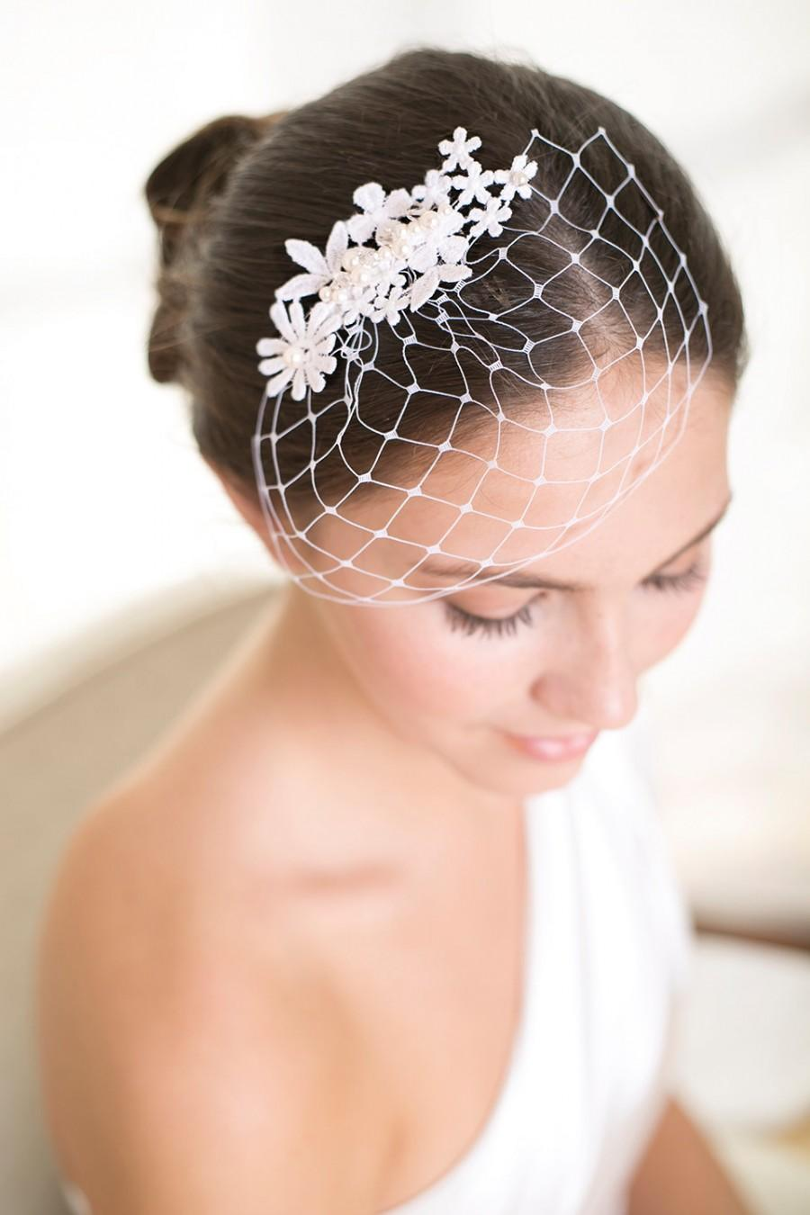 Mariage - Lace birdcage veil, petite birdcage veil with pure white lace, Wedding Veil
