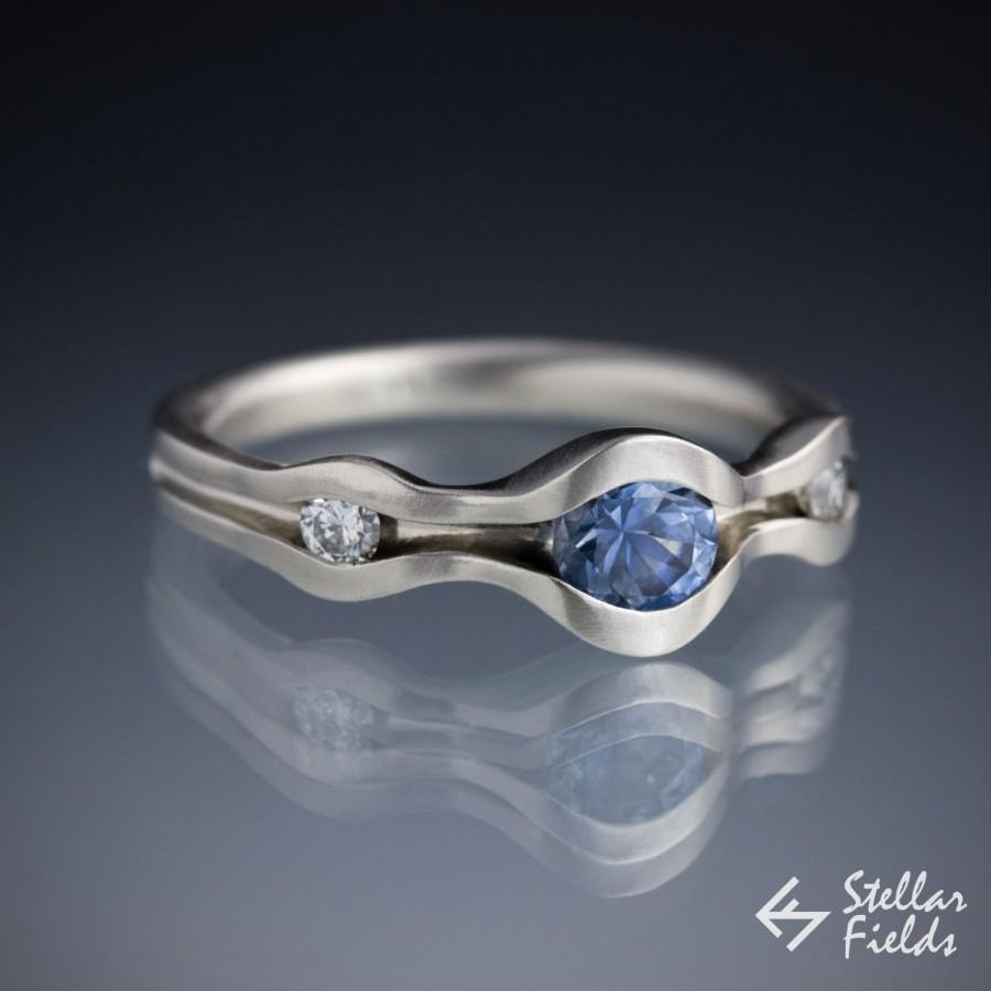 Blue Montana Sapphire & Arctic Diamonds Three Stone Engagement Ring Wave  Ring Modern Unique Minimal Custom Order  14k, 18k Gold Or Platinum
