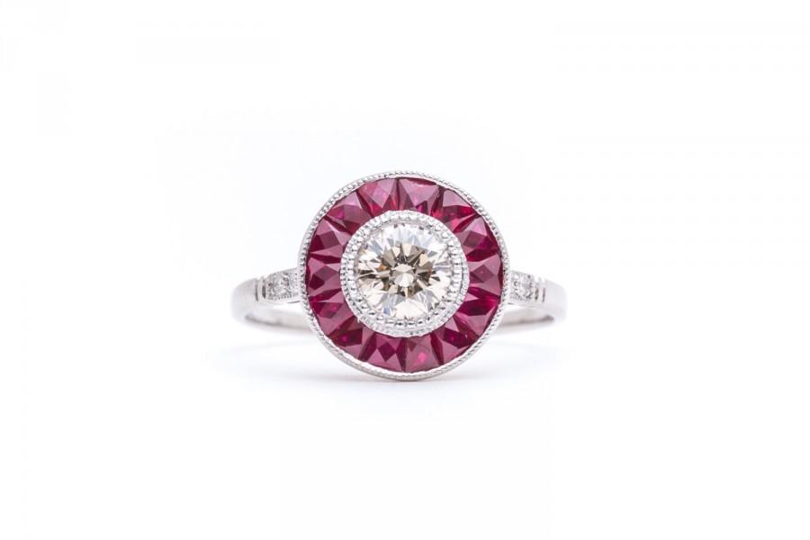 Hochzeit - SALE! Art Deco 1.69ct Champagne Diamond & Ruby Target Ring in Platinum