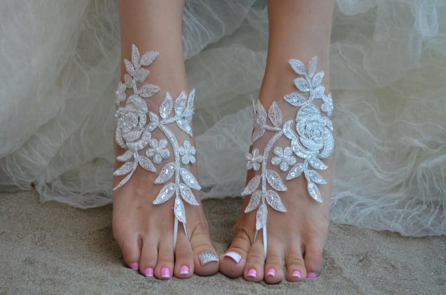 Hochzeit - Ivory lace barefoot sandals Beach Wedding France lace anklet sandals lace Wedding Shoes beach shoes beach sandals Bridal sandals 6 Colors
