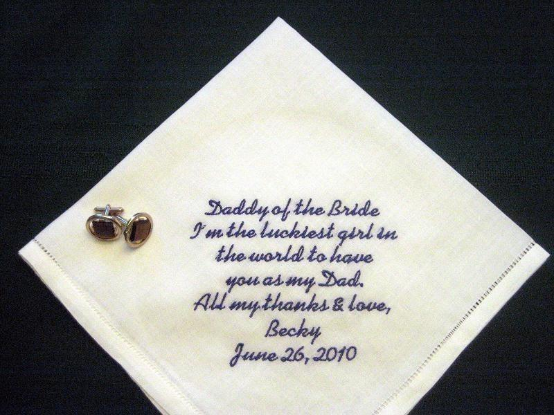 Mariage - Daddy of the Bride Linen Hankie 79S Personalized Wedding Handkerchief, Grooms hanky, Embroidered hanke