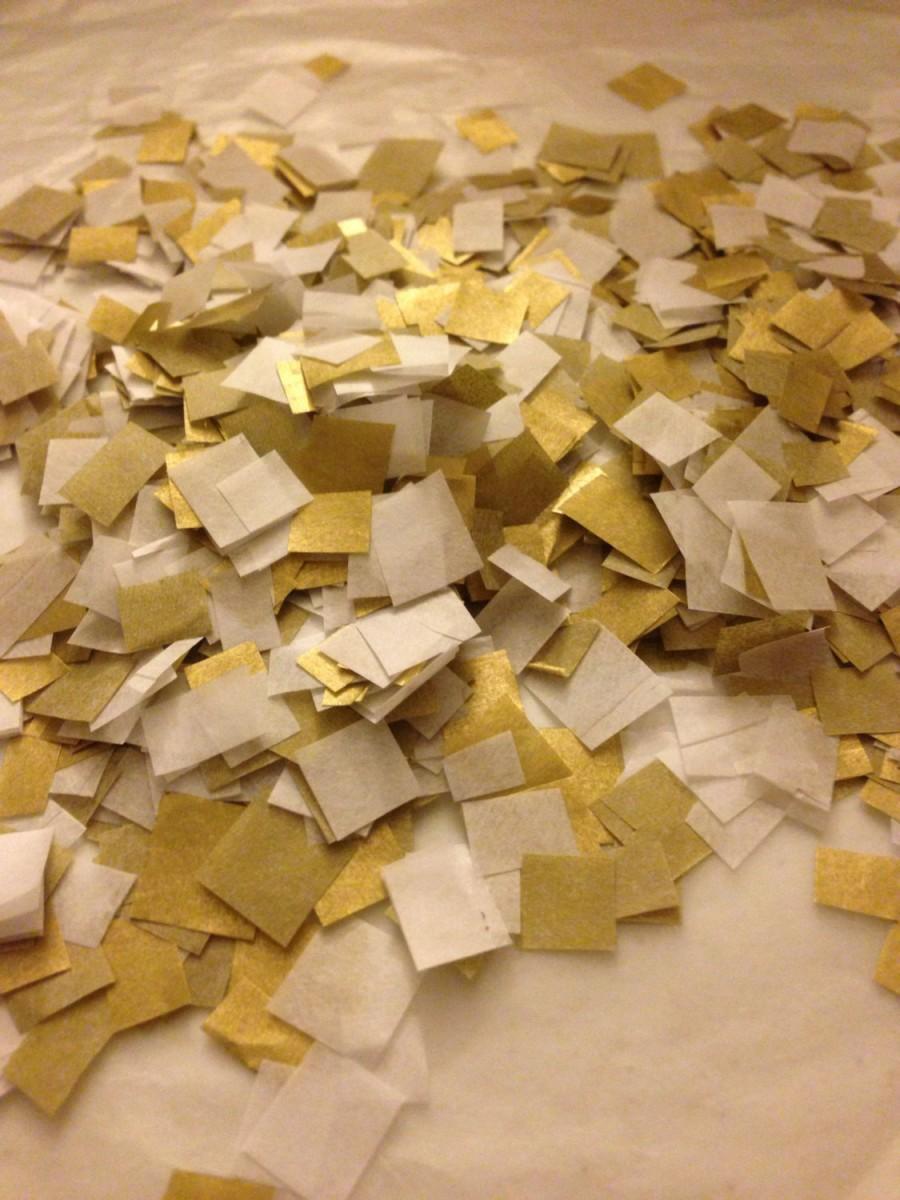 Mariage - Biodegradable Confetti / Wedding Confetti / White and Metallic Gold Confetti to Throw / Bag of Confetti / Gold Wedding Decoration