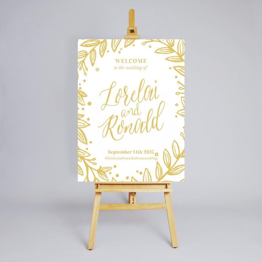 "Wedding - Printable Wedding Welcome Sign // Floral Digital Reception Sign // Custom Wedding Sign // Wedding Decoration // Design ""Felicity 2"""