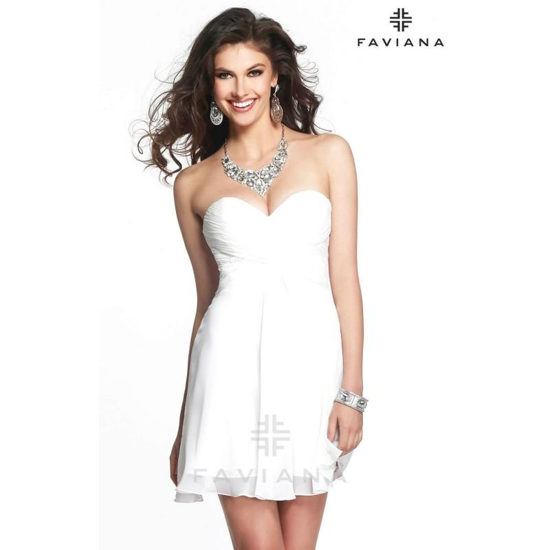 Mariage - Ivory Faviana 7420 - Short Chiffon Simple Dress - Customize Your Prom Dress