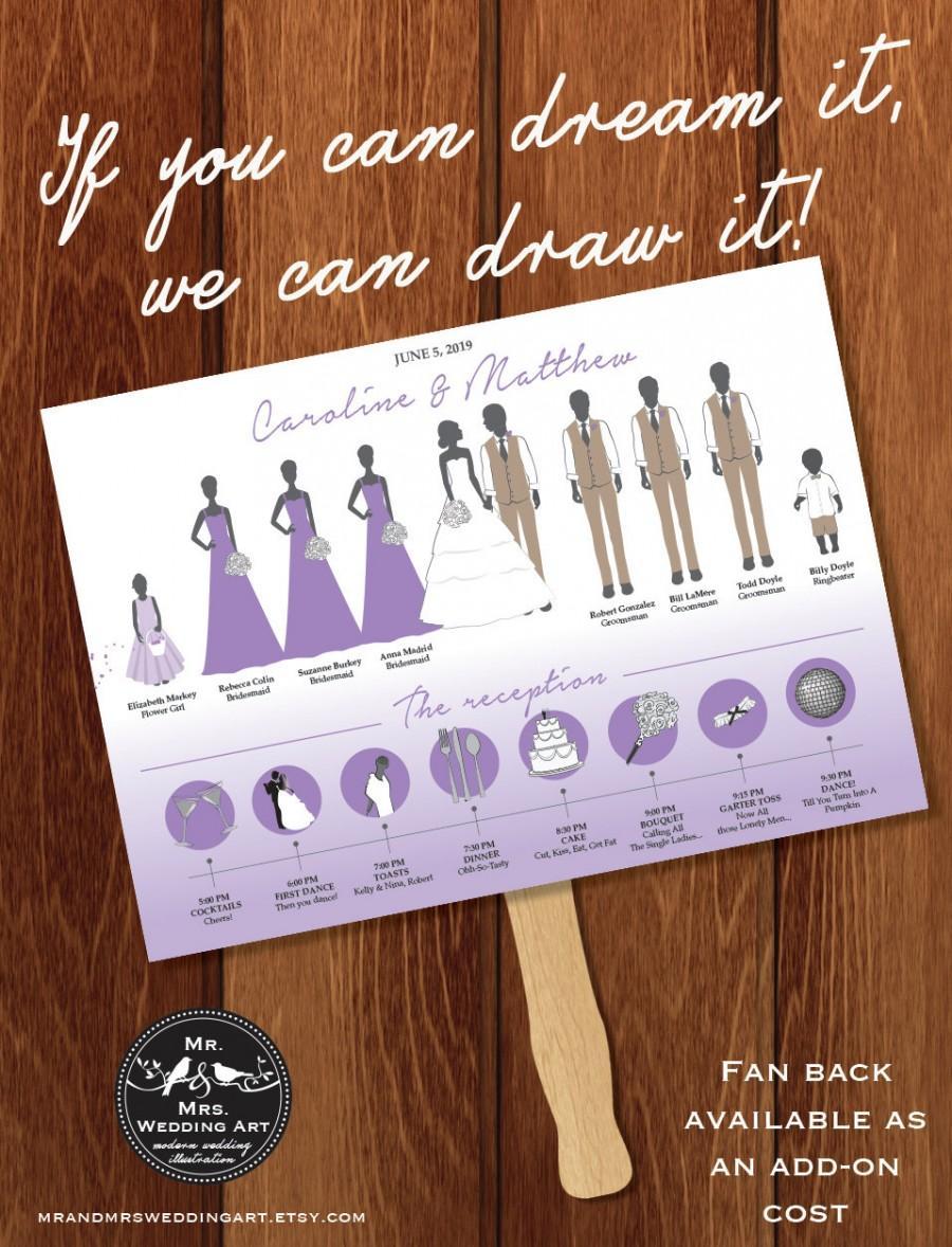 silhouette wedding program fan and timeline 7 digital or printed