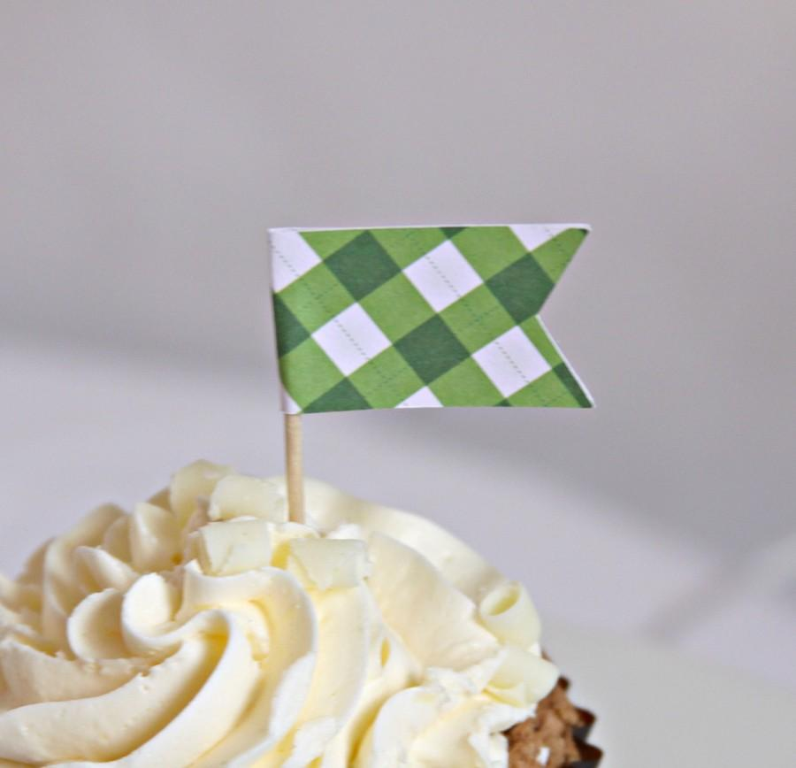 Wedding - Equestrian Party - Cupcake Topper - Green Gingham Plaid- Decorations - Kentucky Derby Party - Birthday Party Decorations  - Appetizer - Polo