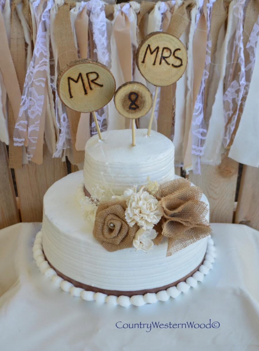 Rustic Cake Topper, Wedding Cake Topper, Burlap Cake Topper, Wood ...