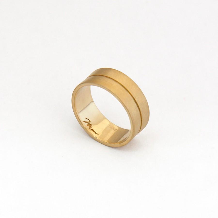 Wedding - wide band gold ring, Wide wedding gold band, 14k Gold Minimalist Wedding Band, Unique gold wedding band, Wide Gold Wedding Ring, Solid Gold