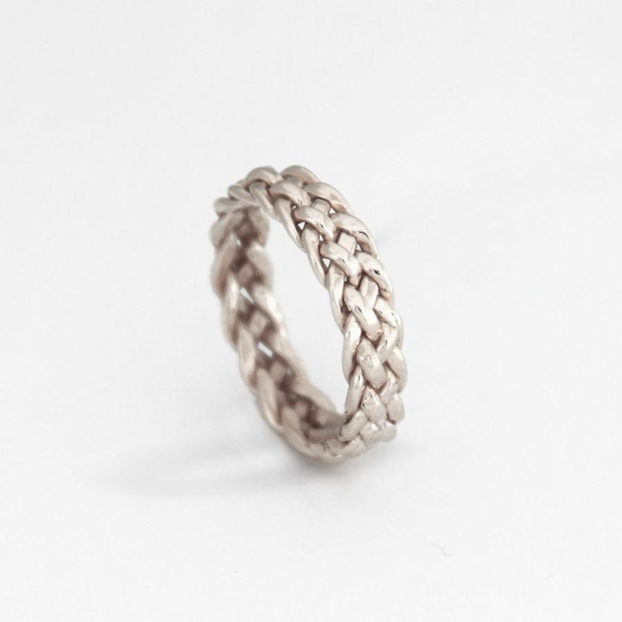 Hochzeit - Silver eternity band, Silver promise ring, eternity wedding band, Eternity wedding band Silver 5 Thread Braided Ring silver commitment ring