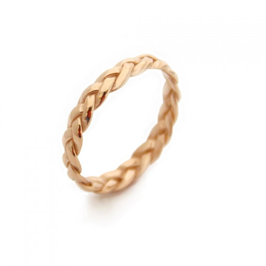 Hochzeit - Braided Yellow Gold Plated Ring, Gold Rings, Braided Ring, Alternative wedding Ring, braided wedding band, Commitment Ring