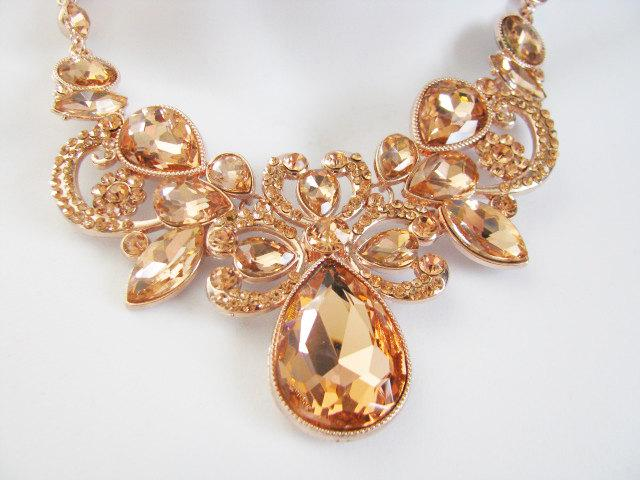Rose Gold Tone Bridal Statement Necklace Set Wedding Jewelry Set
