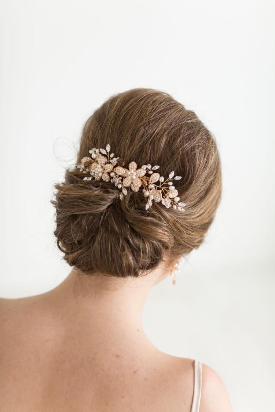 Mariage - Gold Pearl Crystal Wedding Comb, Gold Bridal Hair Comb, Gold Wedding Headpiece