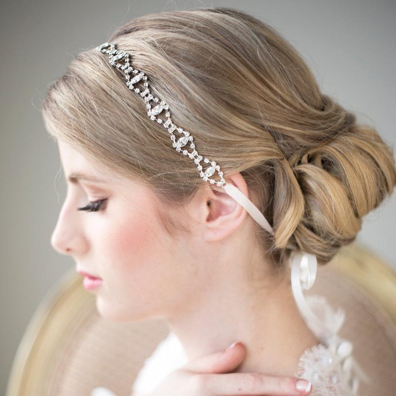 Mariage - Crystal Ribbon Headband, Wedding Headband, Bridal Rhinestone Headband, Ribbon Headband